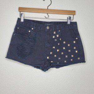 Forever 21 Black Studded Distressed Jean Shorts